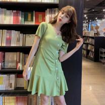 Dress Summer of 2019 S,M,L Short skirt singleton  Short sleeve commute V-neck middle-waisted Solid color Socket Ruffle Skirt routine Type A Other / other Korean version