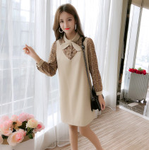 Dress Autumn of 2018 Picture color S. M, l, XL, collection baby give small gift Middle-skirt singleton  Long sleeves commute Crew neck Loose waist Socket A-line skirt routine Type A Korean version Splicing