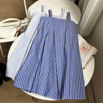 Dress Summer 2020 Blue dress, white dress Average size longuette singleton  commute other Loose waist stripe Socket A-line skirt other straps 18-24 years old Type A literature SG510353 30% and below other other