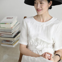 Dress Summer of 2019 white S,M,L longuette singleton  Short sleeve commute Crew neck High waist Solid color Socket routine 30-34 years old Type H Sishan Wenye Simplicity Pleats, bandages SH030758 31% (inclusive) - 50% (inclusive) other hemp