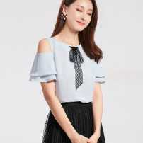 Lace / Chiffon Summer 2021 Elegant blue S,XL,L,M Short sleeve commute Socket singleton  easy Regular Crew neck Solid color Lotus leaf sleeve 25-29 years old Stitching, ruffles lady 96% and above polyester fiber