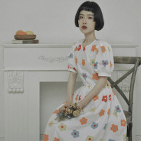 Dress Spring 2020 Decor S (model 155cm), m (shopkeeper 166cm), s (pre-sale 3-7 days), m (pre-sale 3-7 days) longuette singleton  Short sleeve Sweet Crew neck High waist Decor Socket Big swing bishop sleeve 18-24 years old Type X However, he Feng Bowknot, fungus, lace, print More than 95% cotton