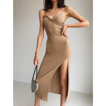 Dress Summer 2020 Blue, black, green, purple, coffee S, M longuette singleton  Sleeveless street V-neck High waist Solid color Socket One pace skirt other camisole 18-24 years old Type H Drape, open back, fold other other Europe and America