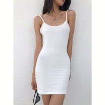 Dress Summer 2020 S, M Middle-skirt singleton  Sleeveless street square neck High waist Solid color Socket One pace skirt camisole 18-24 years old Type H Europe and America