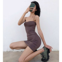 Dress Summer 2020 Apricot, white, black, dark coffee S, M Short skirt singleton  Sleeveless street One word collar High waist Solid color Socket One pace skirt camisole 18-24 years old Type H backless Europe and America