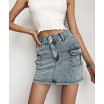 skirt Summer 2020 25,26,27,28,29 Light blue, khaki, army green Miniskirt street High waist A-line skirt Solid color Type A 18-24 years old cotton Pocket, button Europe and America