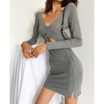 Dress Autumn 2020 Khaki, grey, black S, M Short skirt singleton  Long sleeves street V-neck High waist Solid color Socket One pace skirt routine Others 18-24 years old Type H More than 95% cotton Europe and America