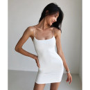 Dress Summer 2020 White, light blue, red, army green, black, pink, bean green, blue gray XS,S,M Miniskirt singleton  Sleeveless street One word collar High waist Solid color Socket One pace skirt camisole 18-24 years old Type H 81% (inclusive) - 90% (inclusive) nylon Europe and America