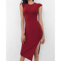 Dress Summer 2020 Average size longuette singleton  Sleeveless street Crew neck High waist Solid color Socket One pace skirt routine Others 18-24 years old Type H Europe and America