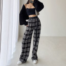 Casual pants Black, Khaki S,M,L Spring 2021 trousers Wide leg pants High waist street routine 18-24 years old 71% (inclusive) - 80% (inclusive) belt polyester fiber Europe and America
