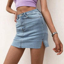 skirt Summer 2020 25,26,27,28,29 Light blue, dark blue, black, smoke gray Short skirt street High waist skirt Type A 18-24 years old Denim Europe and America