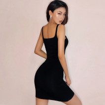 Dress Summer 2020 Black, army green, charcoal gray, coral, bean green, orange S,M,L Miniskirt singleton  Sleeveless street square neck High waist Solid color Socket One pace skirt other camisole 18-24 years old Type H straps Europe and America