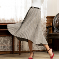 skirt Autumn of 2018 S,M,L Brown, black and white Mid length dress Versatile High waist Pleated skirt lattice Type A 25-29 years old B004-1 31% (inclusive) - 50% (inclusive) other acrylic fibres