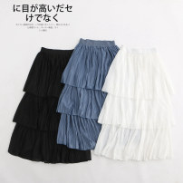 skirt Winter 2020 Average size White, blue, black, beige Mid length dress Versatile High waist Cake skirt Solid color 30% and below other