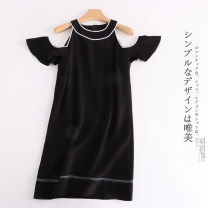 Dress Spring 2021 black M,PP,P,G,GG Mid length dress singleton  Short sleeve commute Crew neck Loose waist Retro 30% and below other