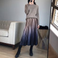 skirt Autumn of 2018 Average size Mid length dress commute Natural waist Pleated skirt Solid color Type A 25-29 years old 51% (inclusive) - 70% (inclusive) velvet polyester fiber Korean version