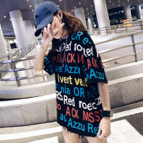 T-shirt M,L,XL,2XL Summer 2021 Short sleeve Crew neck easy Regular routine street cotton 31% (inclusive) - 50% (inclusive) 18-24 years old youth letter Other / other printing Europe and America