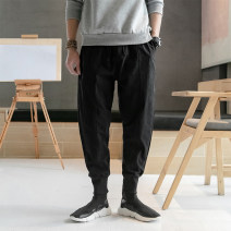Casual pants Others Youth fashion Gray, black M,L,XL,2XL,3XL,4XL,5XL routine trousers Other leisure easy No bullet spring youth Chinese style middle-waisted Little feet Haren pants Three dimensional tailoring washing Solid color hemp Cotton and hemp