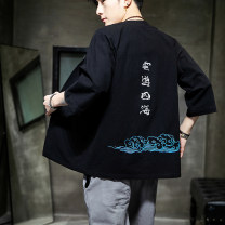 Jacket Other / other Youth fashion gules M,L,XL,2XL,3XL,4XL,5XL routine easy Other leisure summer Ramie 76% cotton 24% elbow sleeve Wear out No collar Chinese style youth routine 2020 Straight hem Loose cuff