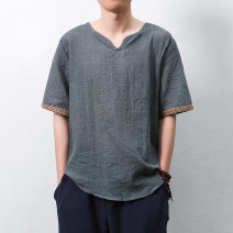 T-shirt Youth fashion Gray, light green, Navy, cinnabar, denim blue, Matcha green thin M,L,XL,2XL,3XL,4XL,5XL Others Short sleeve V-neck easy daily summer youth routine Chinese style 2016 Ethnic style Different color hemming Cotton and hemp other washing Fashion brand