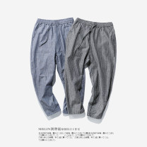 Casual pants Others Youth fashion Basic color (black, gray, white, etc.) M,L,XL,2XL,3XL routine Ninth pants Other leisure easy No bullet summer youth Chinese style 2018 middle-waisted Little feet Haren pants washing stripe hemp Cotton and hemp