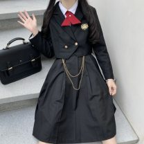 Dress Winter 2020 R22 embroidered suit jacket, n26 breast skirt, I47 bow tie S,M,L,XL Middle-skirt singleton  Long sleeves Sweet V-neck High waist Solid color Socket Pleated skirt routine straps 18-24 years old Type A Other / other Q71438 71% (inclusive) - 80% (inclusive) polyester fiber
