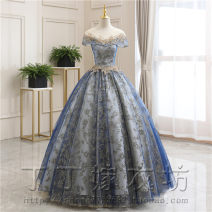 Dress / evening wear Adult ceremony, party, company annual meeting, performance, routine, appointment XXL, s, m, l, XL, custom size (no return, no change)) The color is shown in the picture Korean version longuette middle-waisted Autumn 2020 Skirt Princess One shoulder Bandage Satin + mesh + Lace