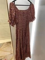 Dress Summer 2021 Decor S Mid length dress singleton  Short sleeve Sweet One word collar Type X M0MS0014 polyester fiber