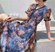 Dress Summer 2021 blue M,L,XL,2XL longuette Two piece set Long sleeves Sweet Crew neck Elastic waist Decor Socket A-line skirt routine 25-29 years old Type A MEXCOCO Button, zipper, printing, stitching, embroidery, bowknot, lace up M0XL2893 71% (inclusive) - 80% (inclusive) wool