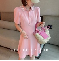 Dress Summer 2021 Black, pink S,M,L Mid length dress singleton  Short sleeve street Polo collar High waist other Socket A-line skirt puff sleeve Others Type A 51% (inclusive) - 70% (inclusive) other other Europe and America