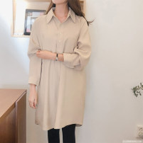 Dress Spring of 2019 Beige Average size Middle-skirt singleton  Long sleeves commute Polo collar Solid color 25-29 years old Ol style