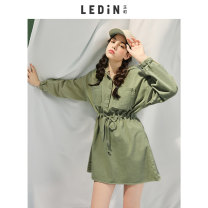 Dress Spring 2020 Green is not for sale S M L Short skirt singleton  Long sleeves 18-24 years old Leting CWFAA1511 More than 95% cotton Cotton 100%