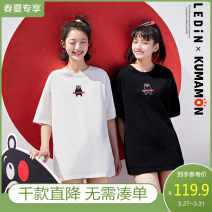 T-shirt S M L Summer 2020 elbow sleeve Straight cylinder Regular Sweet other 96% and above 18-24 years old Leting Other 100% solar system