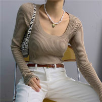 Wool knitwear Autumn 2020 Average size Black, white, blue, gray, khaki Long sleeves singleton  Socket acrylic fibres 51% (inclusive) - 70% (inclusive) Regular routine street Self cultivation Low crew neck routine Solid color Socket 18-24 years old thread Europe and America