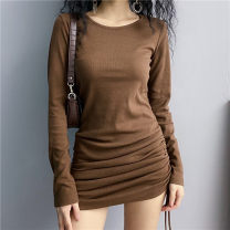 Dress Autumn 2020 Dark brown S,M,L,XL Short skirt singleton  Long sleeves street Crew neck Elastic waist other routine 18-24 years old 31% (inclusive) - 50% (inclusive) acrylic fibres Europe and America