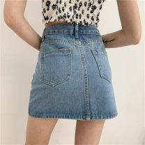 skirt Summer 2020 S,M,L,XL Light blue, dark blue Short skirt Versatile High waist A-line skirt Solid color Type A 18-24 years old 31% (inclusive) - 50% (inclusive) Denim cotton