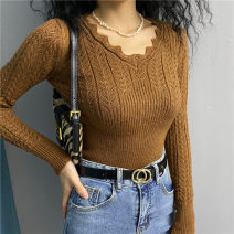 Wool knitwear Autumn 2020 S, M Caramel Long sleeves singleton  Socket acrylic fibres 31% (inclusive) - 50% (inclusive) Regular routine street Self cultivation V-neck routine Solid color Socket 18-24 years old Europe and America