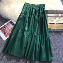 skirt Autumn of 2019 Average size Mid length dress Versatile High waist A-line skirt Solid color Type A 18-24 years old other cotton