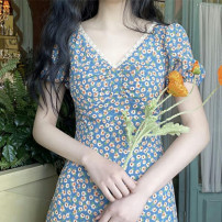 Dress Summer 2020 Sky blue, white sling S,M,L,XL,2XL Mid length dress singleton  Short sleeve Sweet V-neck Decor Others 18-24 years old Other / other 3D 81% (inclusive) - 90% (inclusive) other Cellulose acetate princess