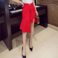 skirt Spring of 2018 S,M,L,XL,2XL,3XL,4XL,5XL Black, red Mid length dress gorgeous High waist skirt Solid color Type H 25-29 years old Lace up, asymmetric, zipper, resin fixation