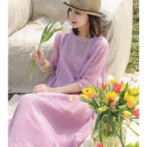 Dress Summer 2021 Plum S,M,L longuette singleton  three quarter sleeve commute Crew neck Loose waist Solid color Socket Big swing routine Others 30-34 years old literature L3201 More than 95% hemp