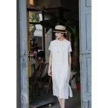 cheongsam Summer 2021 S,M,L,XL Pure white Short sleeve long cheongsam literature Low slit daily Semicircle lapel Solid color 25-35 years old L3812 Lycra Lycra 96% and above