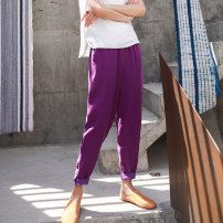 Casual pants S,M,L Spring 2021 trousers Natural waist commute routine 30-34 years old 96% and above Ma Lin hemp literature pocket cotton