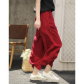Casual pants Ben White, plain black, berry red S,M,L Summer 2021 Ninth pants Wide leg pants Natural waist commute routine 30-34 years old 96% and above 20SK1800 literature hemp