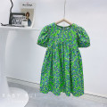 Dress green female Other / other The reference height of tag 100 is 90-100cm, tag 110 is 100-110cm, tag 120 is 110-120cm, tag 130 is 120-130cm, tag 140 is 130-140cm Other 100% summer Korean version Short sleeve flower other A-line skirt Three, four, five, six, seven, eight, nine, ten, eleven