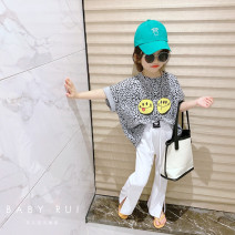 T-shirt [spot] grey leopard T-shirt, [spot] white split wide leg pants, [spot] Blue Leopard T-shirt, [spot] black split wide leg pants Other / other female summer Short sleeve Crew neck Korean version There are models in the real shooting nothing other Leopard Print