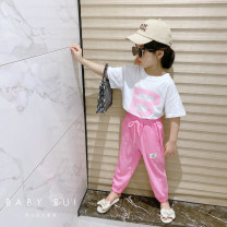 suit Other / other Letter T-shirt + rose pink pants The reference height of hanging tag 5 is 100-110cm, hanging tag 7 is 110-120cm, hanging tag 9 is 120-125cm, hanging tag 11 is 125-135cm, hanging tag 13 is 135-145cm female summer Korean version Short sleeve + pants 2 pieces routine Socket nothing