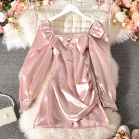 Dress Summer 2020 White, black, pink M, L Short skirt singleton  Long sleeves commute square neck High waist Solid color Socket other routine Others 18-24 years old Type H Korean version Meijia-6618 long sleeve skirt 30% and below Chiffon polyester fiber
