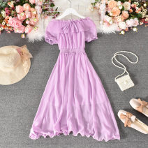 Dress Summer 2020 White, black, red, pink, light green, orange, violet, light blue, yellow, purple pink, cowboy blue, dark blue, fruit green Average size Mid length dress singleton  Short sleeve commute One word collar High waist Solid color Socket A-line skirt other Others 18-24 years old Type A