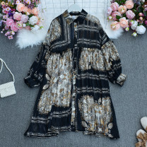 Dress Spring 2021 Average size longuette singleton  Long sleeves commute Polo collar High waist Decor Single breasted A-line skirt Bat sleeve Others 18-24 years old Type A ethnic style printing 30% and below Chiffon polyester fiber